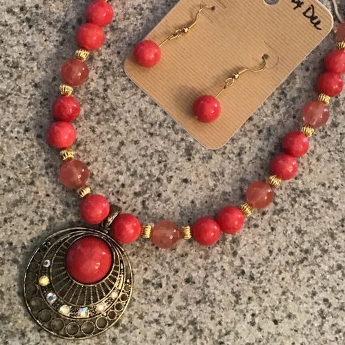 Necklace and earring set- shades of coral and tangerine with gold pendant and accents