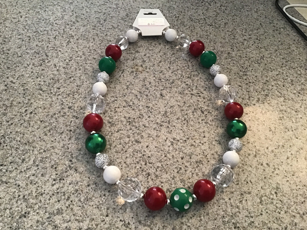 Christmas necklace, full beaded
