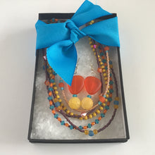 Orange, yellow, brown and teal beaded jewelry set