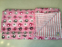 Pink Elephant Flannel Baby Blanket