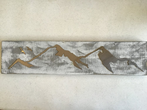 Mountain Scenic View - Metalwork on Wood