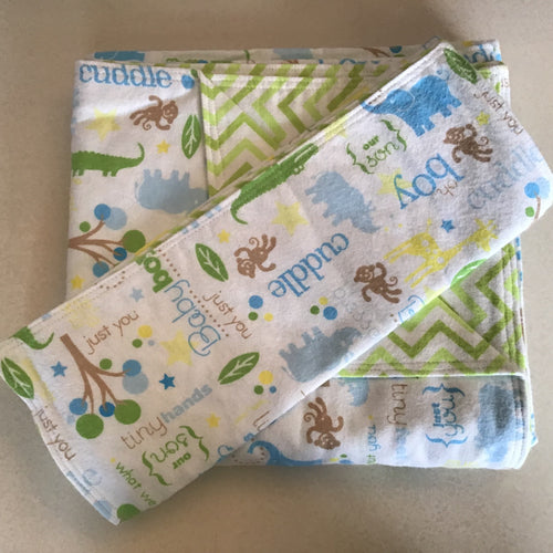 Handmade Flannel Baby/Toddler Blanket and Burp Cloth set