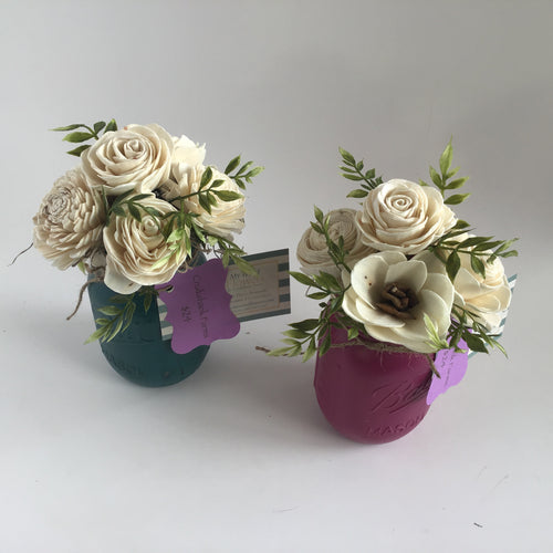 Mason jar wood flower arrangements