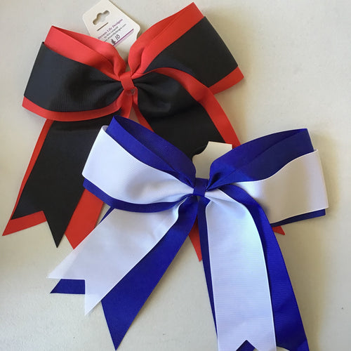 Cheer bow Double Ribbon/Sequins