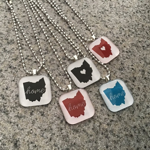 Glass tile Ohio necklaces