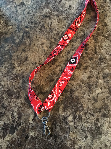 Red Black and White Lanyard