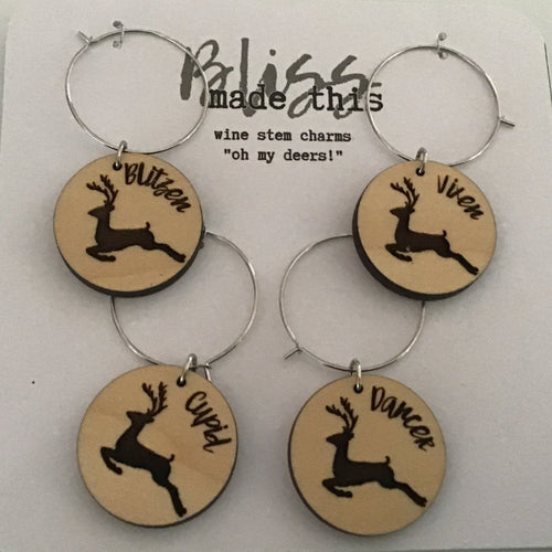 Reindeer/christmas wooden wine glass charms
