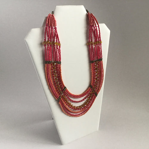 Pink and coral beaded collar necklace