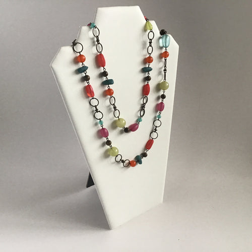 Versatile long, multicolored bead and antique bronze necklace