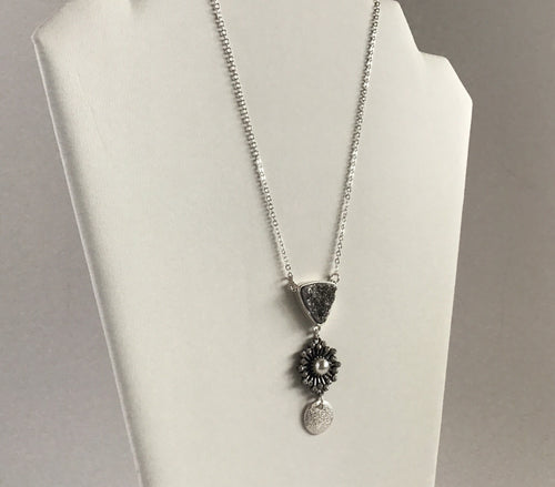 Triple pendant on short silver chain necklace