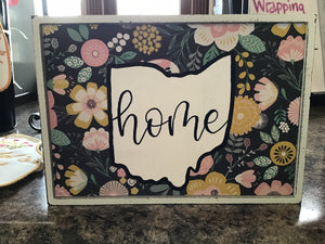 Ohio Home floral sign
