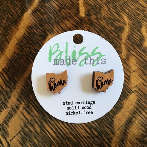 Ohio home wooden laser cut earrings from Bliss Made This