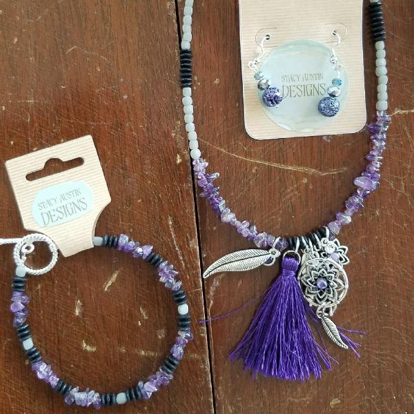Lavender and purple tassel necklace with feather accents