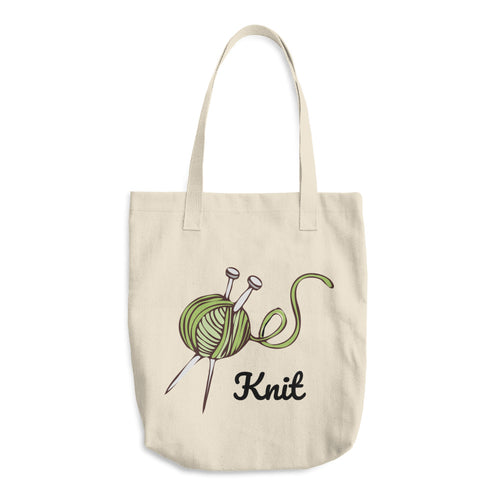 Green Yarn Ball Knit Cotton Tote Bag