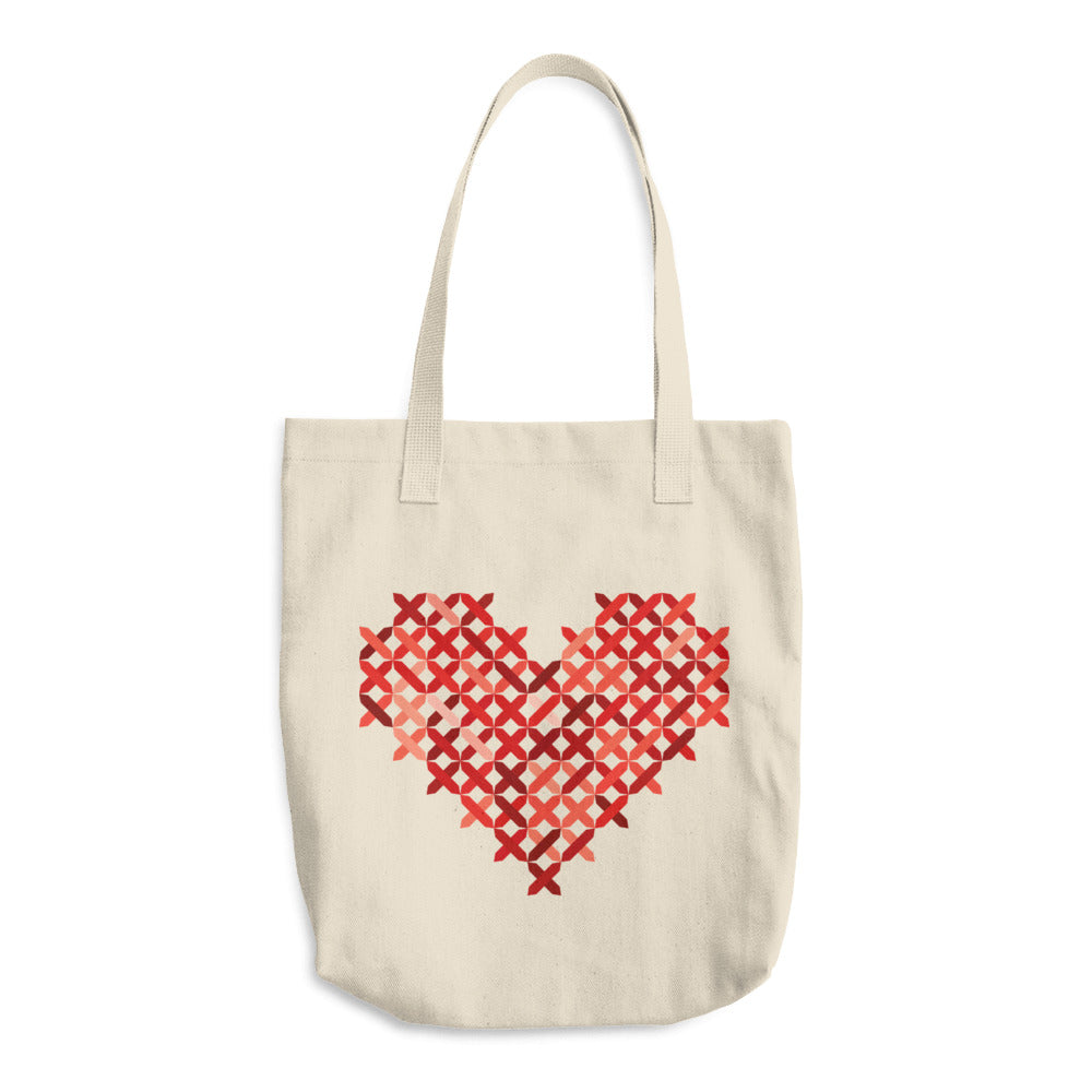 Cross Stitch Heart Cotton Tote Bag