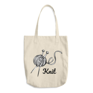 Grey Yarn Ball Knit Cotton Tote Bag
