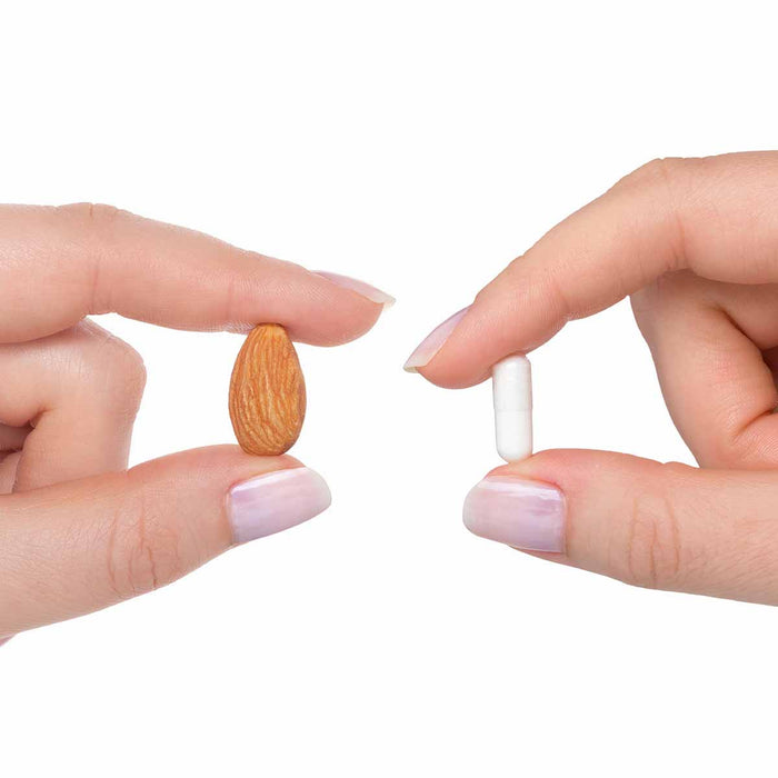 Biotin 5 - 5mg - B Vitamin - Dietary Supplement - 90 Vegetarian Capsules - Capsule Size Comparison vs. Almond