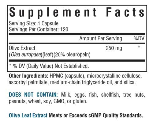 Olive Leaf Extract - 250 mg - 120 Vegetarian Capsules - Supplement Facts Label
