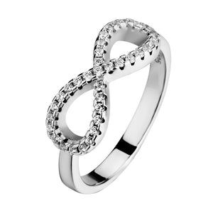 "Pure Sterling Silver Infinity Ring with Zircon Gem Stones - Beautiful ""Endless Love"""