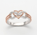Rose Gold and Silver Heart with Anchor and Gemstones - Beautiful Infinite Love Ring