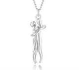 Dancing in the Sky Couples Hug Pendant - 18 Inch Chain Stainless