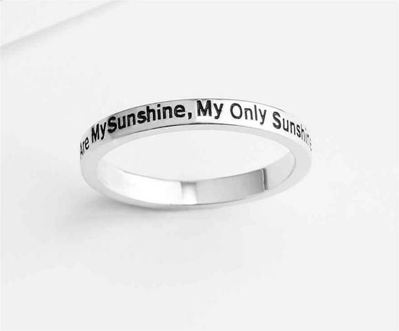 Engraved - You Are My Sunshine,My Only Sunshine .925 Sterling Silver Ring