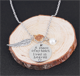 "Angel Wing Necklace with Pearl - Engraved Round -  "" A piece of my heart lives in heaven """