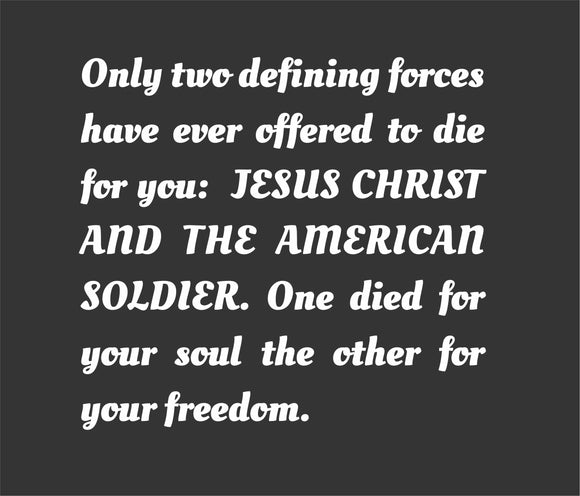 Jesus and the American Soldier - Decal White 5.5