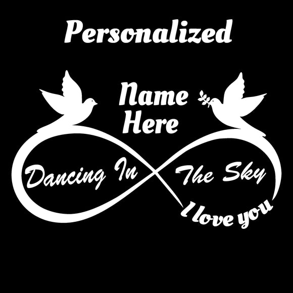 Personalized I Love You - Infinity Decal - Dancing In the Sky Design