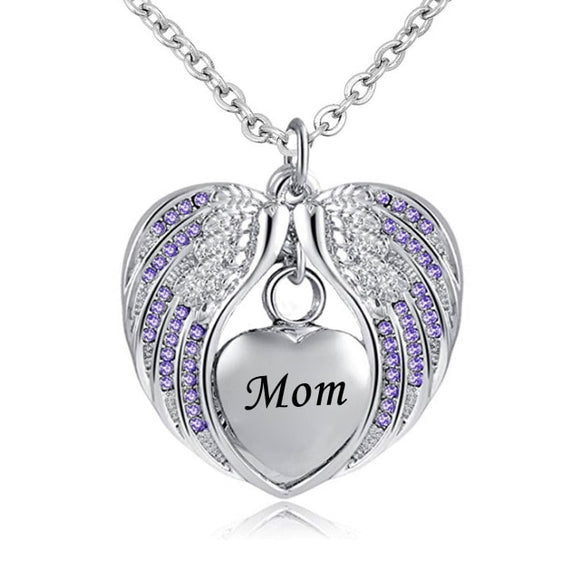 Stainless Steel  Heart Wrapped in Angel Wings Pendant - Mom's Birthstone Cremation Necklace