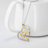 Stunning and Elegant Silver Heart with Gold colored Kitty Cat Pendant