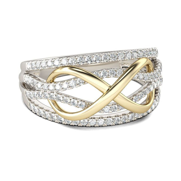 Gold & Silver colored Infinity Ring with Brilliant Zircon Crystals - Love is Eternal