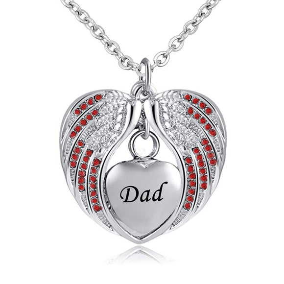 Stainless Steel  Heart Wrapped in Angel Wings Pendant - Dad's Birthstone Cremation Necklace
