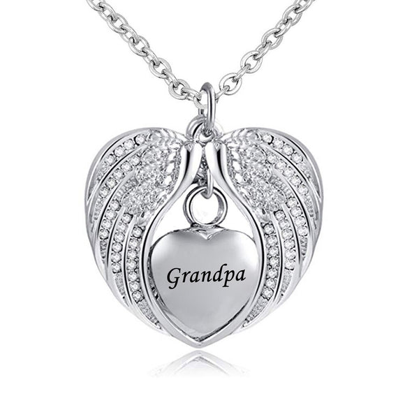 Stainless Steel  Heart Wrapped in Angel Wings Pendant - Grandpa Cremation Necklace