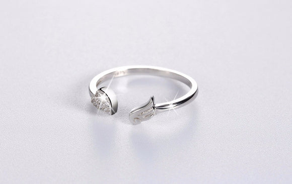 Pure 925 sterling Silver Ring Austrian Zircon Paved Heart Shape & Angel Wing - Tension Adjustable