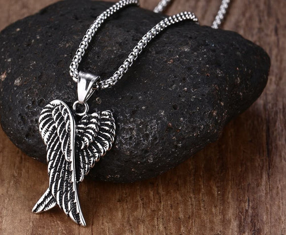 Guardian Angel Wings Necklace - Darkened Heavy Stainless Steel - Rugged - with Chain
