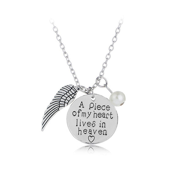 Angel Wing Necklace with Pearl - Engraved Round -
