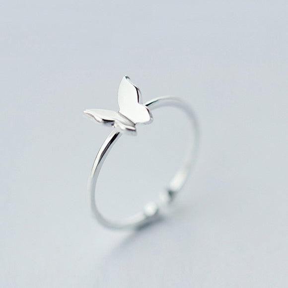 .925 Sterling Silver Fashion Jewelry Butterfly Ring Sizable