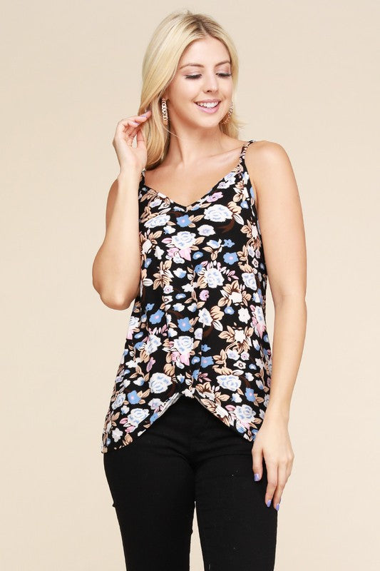 Front knot Floral tank