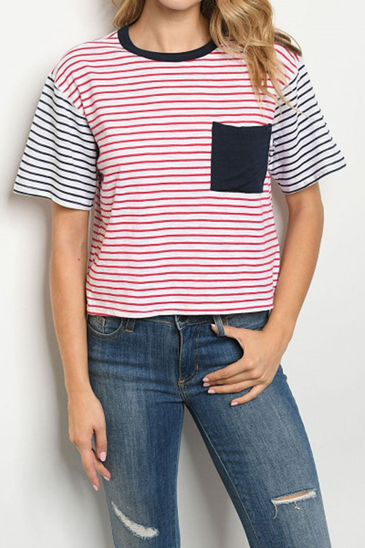 Red, White, Blue striped tee