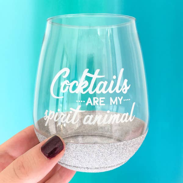 Cocktails are my Spirit Animal Cocktail Glass - Glitter Dipped