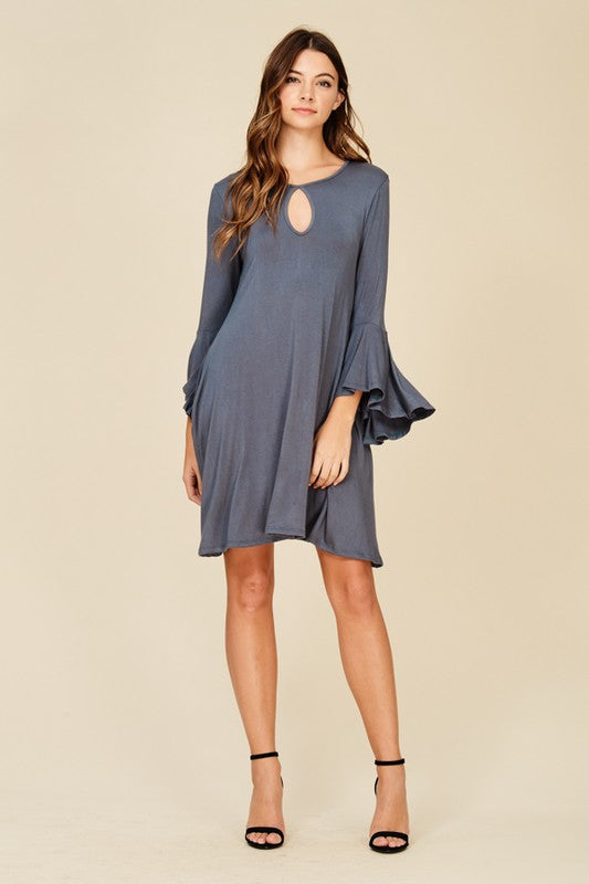 Bell Sleeve Dress with From Key Hole Extended Size