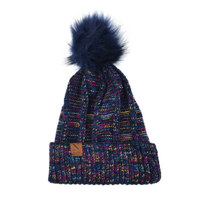 Women's Extra Soft Multicolored Pom Pom Knit