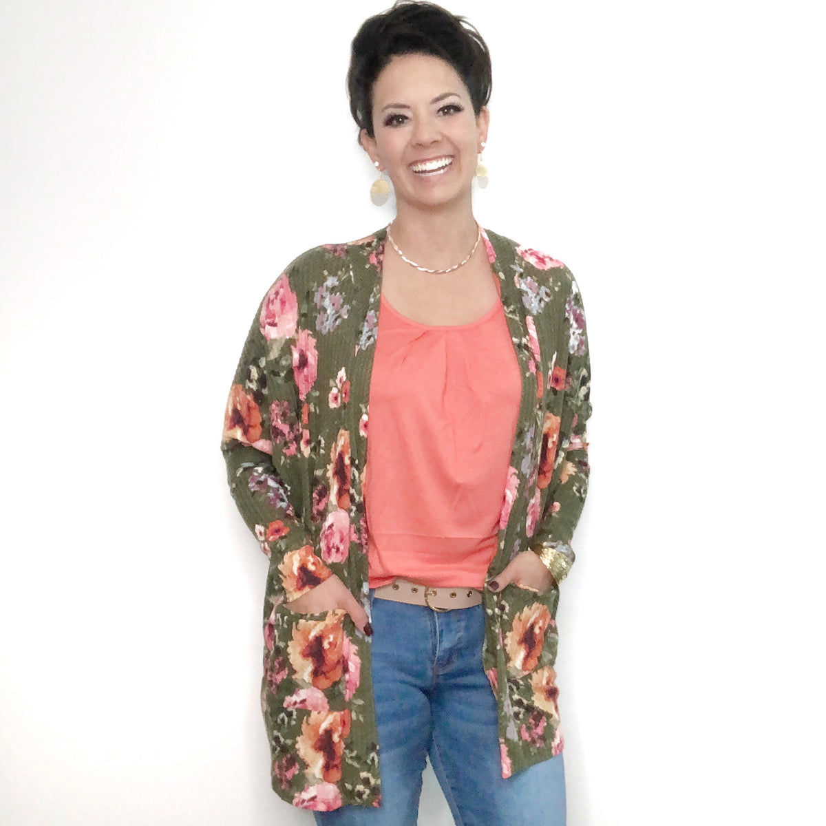 Floral Cardigan with waffled texture