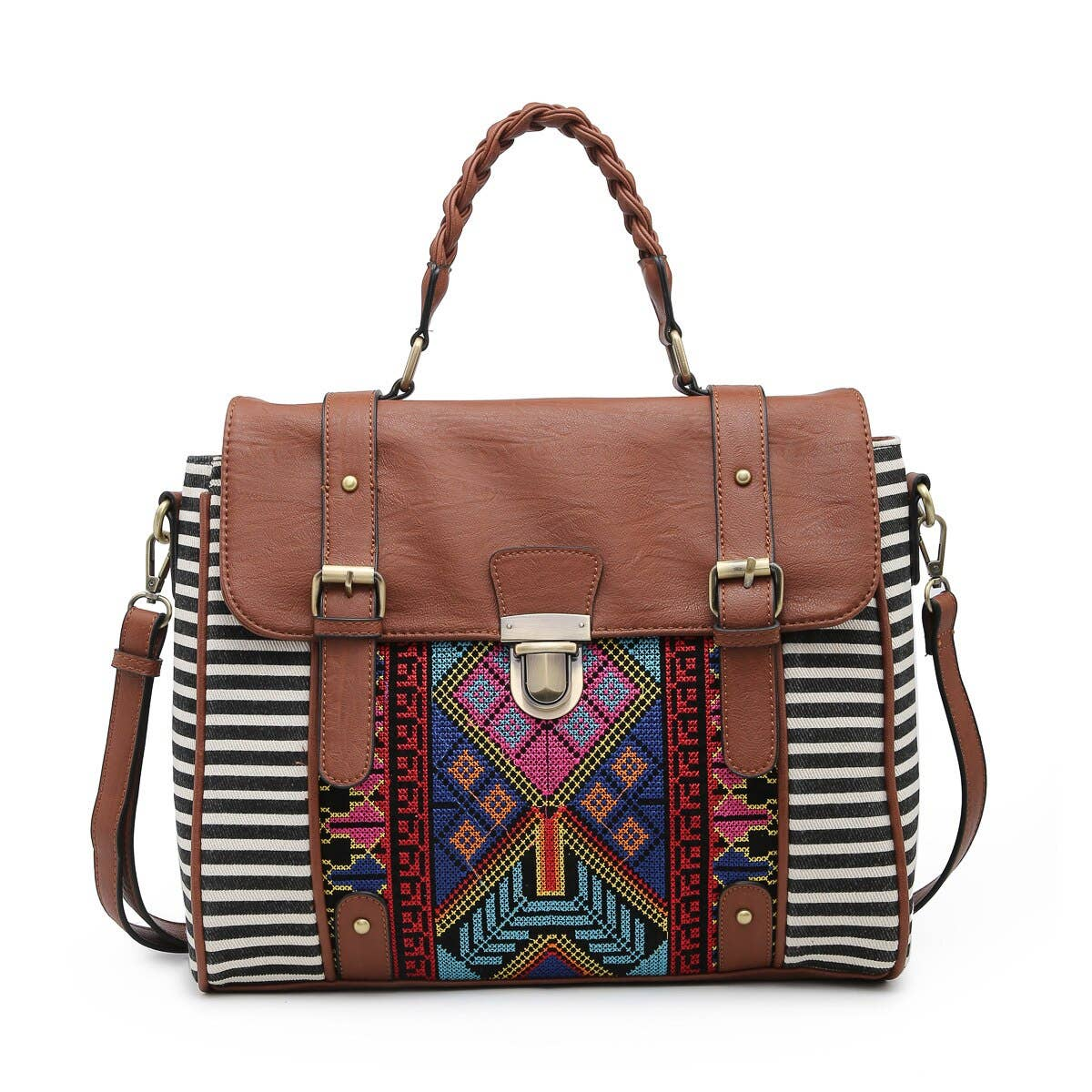 M1944 Harlow Aztec Embroidered Satchel w/ Braided Handle