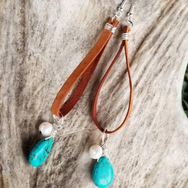 Leather Hoop Earring with Turquoise & Pearl Charms