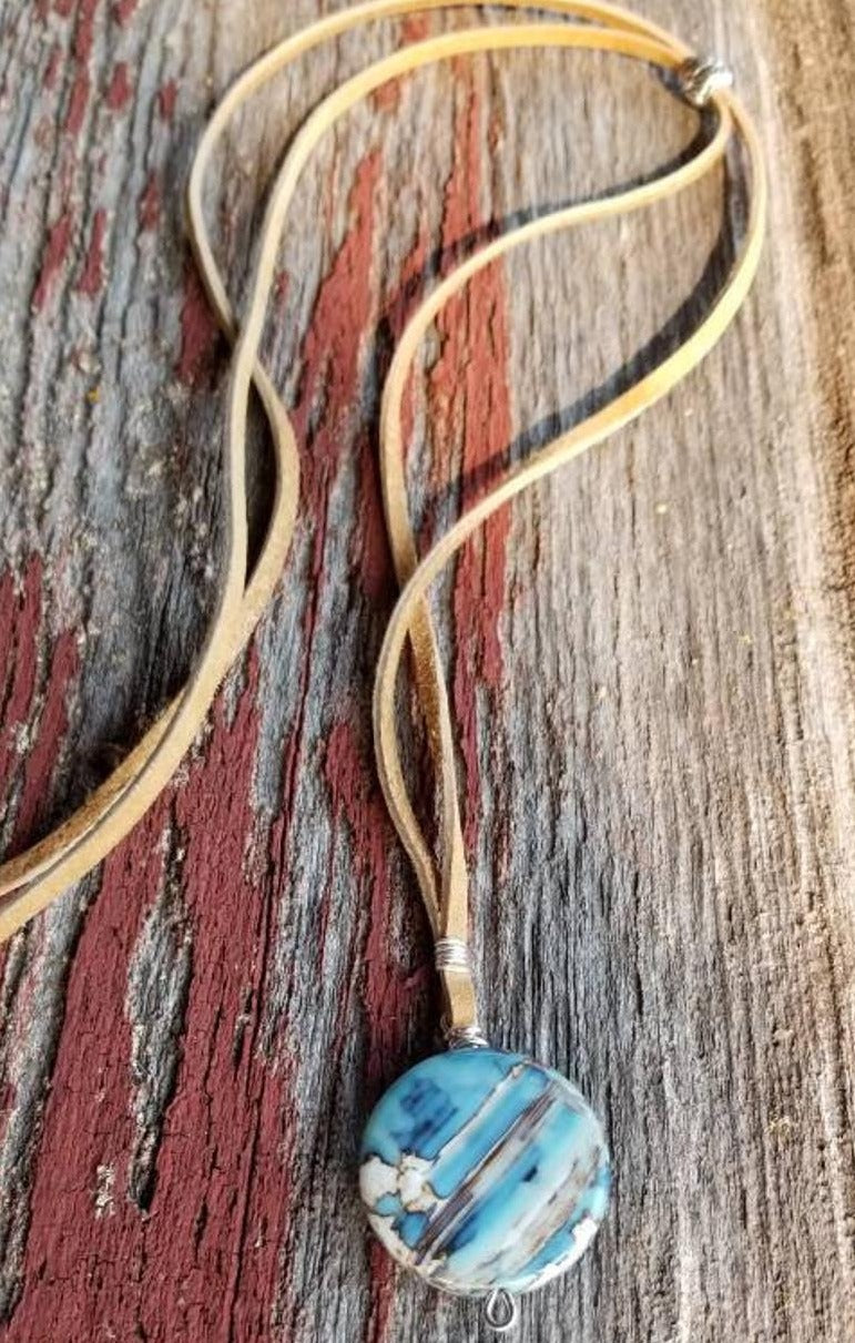 Blue Fire Agate Leather Necklace