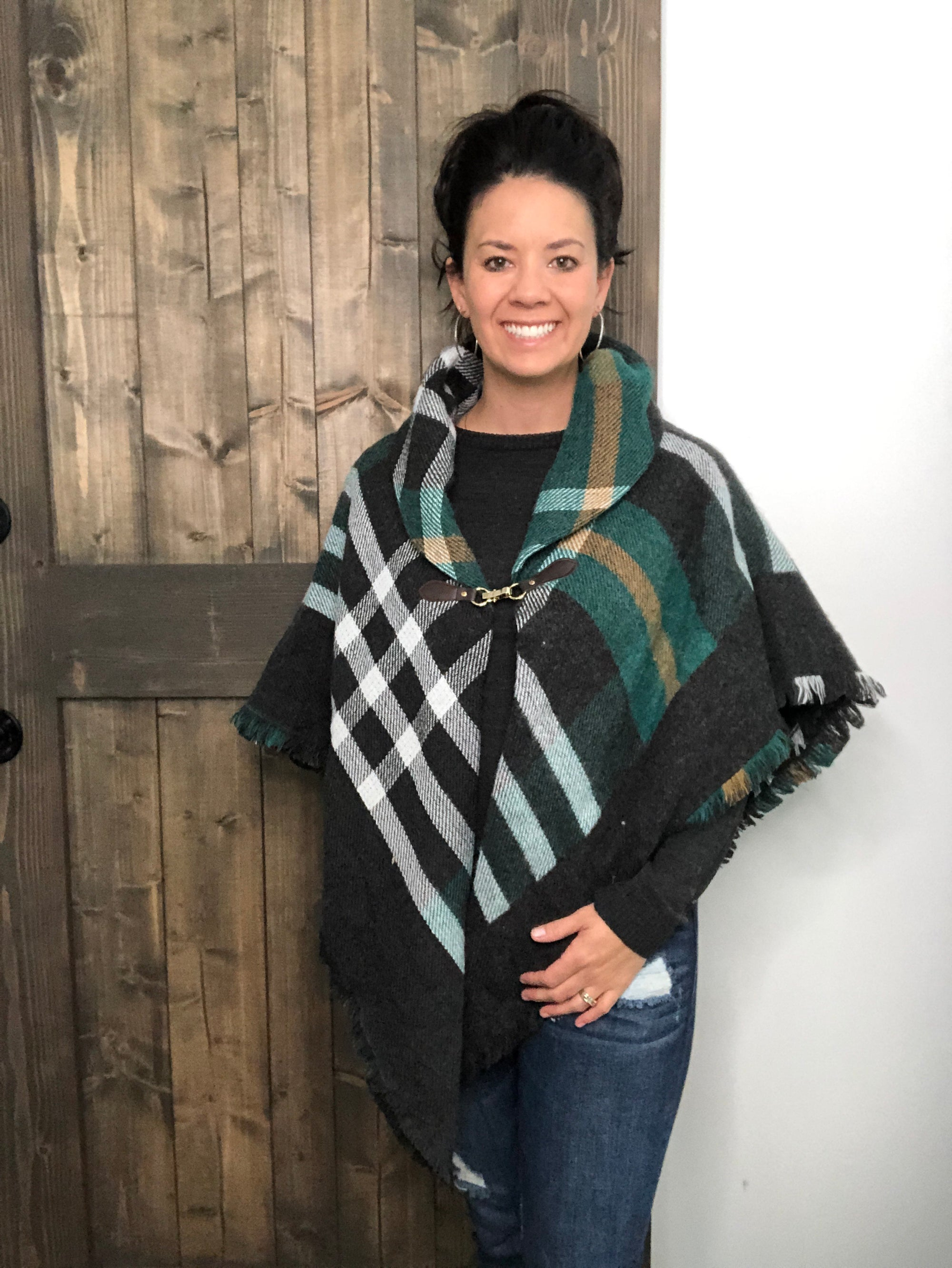 Perfect Poncho Gray/Green/Mustard
