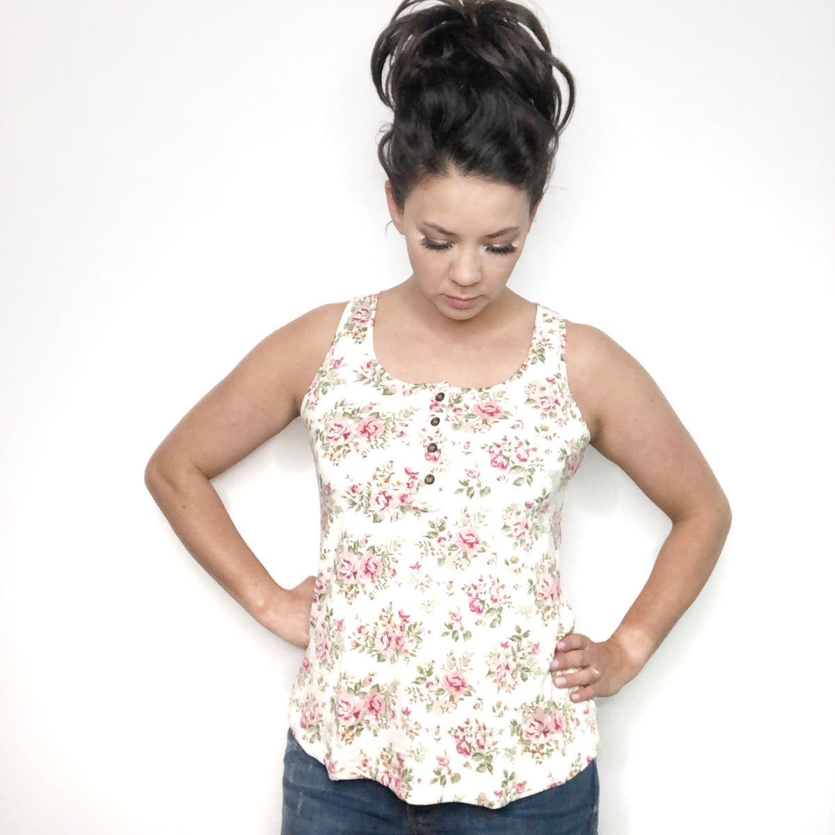 Floral Tank with Buttons