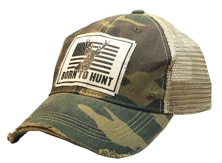 Born To Hunt Distressed Trucker Cap